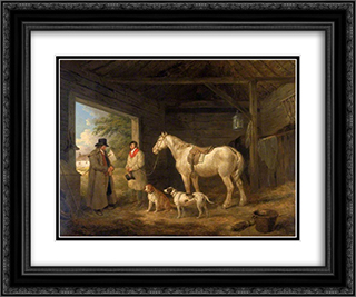 Paying the Ostler 24x20 Black or Gold Ornate Framed and Double Matted Art Print by George Morland