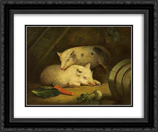 Pigs 24x20 Black or Gold Ornate Framed and Double Matted Art Print by George Morland