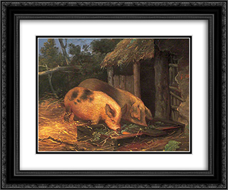 Pigs at a Trough 24x20 Black or Gold Ornate Framed and Double Matted Art Print by George Morland
