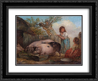 Pigs in a Farmyard 24x20 Black or Gold Ornate Framed and Double Matted Art Print by George Morland