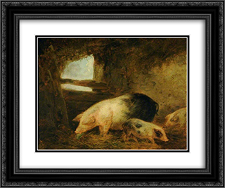 Pigs in a Sty 24x20 Black or Gold Ornate Framed and Double Matted Art Print by George Morland