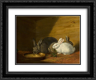 Rabbits 24x20 Black or Gold Ornate Framed and Double Matted Art Print by George Morland