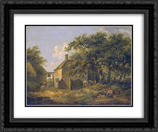 Roadside Inn 24x20 Black or Gold Ornate Framed and Double Matted Art Print by George Morland