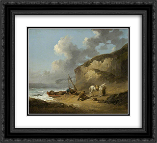 Sea-Coast Scene, Smugglers 22x20 Black or Gold Ornate Framed and Double Matted Art Print by George Morland