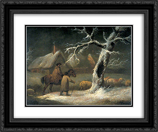 Shepherd in a Snowy Landscape 24x20 Black or Gold Ornate Framed and Double Matted Art Print by George Morland