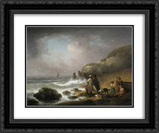 Shooting Sea Fowl 24x20 Black or Gold Ornate Framed and Double Matted Art Print by George Morland
