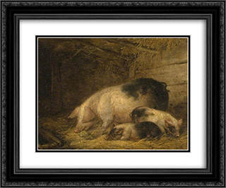 Sow and Piglets in a Sty 24x20 Black or Gold Ornate Framed and Double Matted Art Print by George Morland