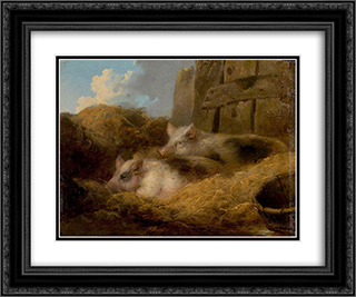 Two Pigs in Straw (Barn with Pigs) 24x20 Black or Gold Ornate Framed and Double Matted Art Print by George Morland
