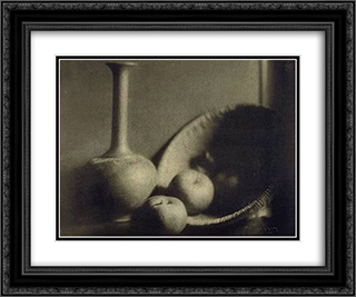 Still Life with Vase and Apples 24x20 Black or Gold Ornate Framed and Double Matted Art Print by George Seeley