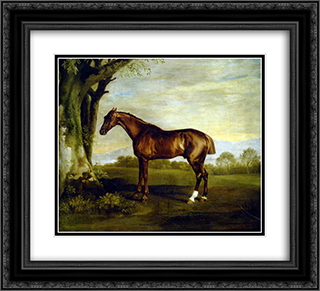 A Chestnut Racehorse 22x20 Black or Gold Ornate Framed and Double Matted Art Print by George Stubbs