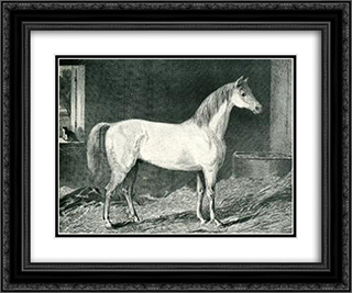 Messenger Horse 24x20 Black or Gold Ornate Framed and Double Matted Art Print by George Stubbs