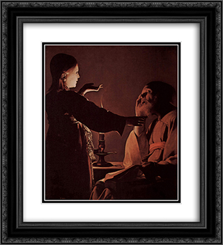 Appearance of Angel to St. Joseph, also called The Song of St. Joseph 20x22 Black or Gold Ornate Framed and Double Matted Art Print by Georges de la Tour