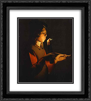 Blower with a Pipe 20x22 Black or Gold Ornate Framed and Double Matted Art Print by Georges de la Tour