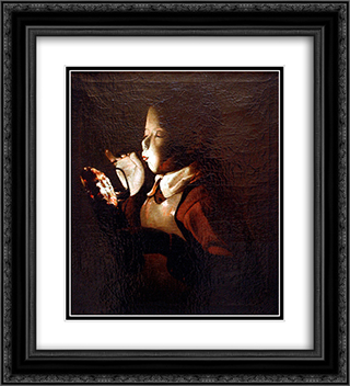 Boy Blowing at Lamp 20x22 Black or Gold Ornate Framed and Double Matted Art Print by Georges de la Tour