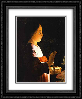 Education of the Virgin (detail) 20x24 Black or Gold Ornate Framed and Double Matted Art Print by Georges de la Tour