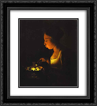 Girl with a Brazier 20x22 Black or Gold Ornate Framed and Double Matted Art Print by Georges de la Tour