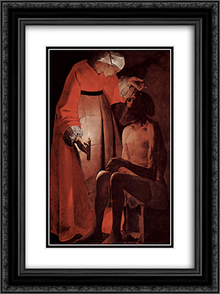 Job Mocked by His Wife 18x24 Black or Gold Ornate Framed and Double Matted Art Print by Georges de la Tour