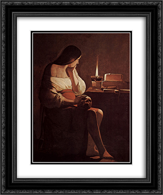 Mary Magdalene with a night light 20x24 Black or Gold Ornate Framed and Double Matted Art Print by Georges de la Tour