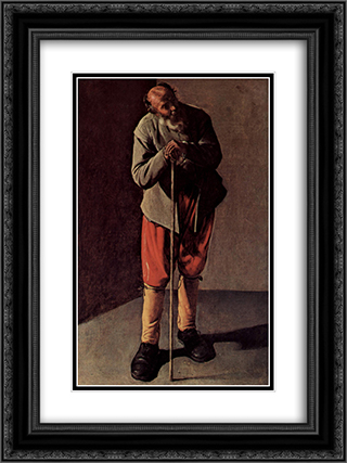 Old Man 18x24 Black or Gold Ornate Framed and Double Matted Art Print by Georges de la Tour