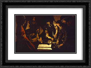 Payment of Taxes 24x18 Black or Gold Ornate Framed and Double Matted Art Print by Georges de la Tour