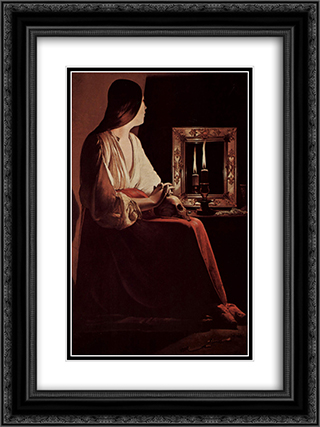 Repenting Magdalene, also called Magdalene and Two Flames 18x24 Black or Gold Ornate Framed and Double Matted Art Print by Georges de la Tour