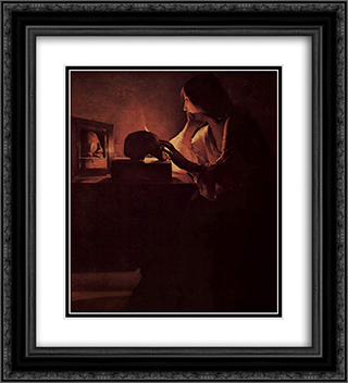 Repenting Magdalene, also called Magdalene before Mirror or Magadalene Fabius. 20x22 Black or Gold Ornate Framed and Double Matted Art Print by Georges de la Tour