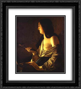 Repenting Magdalene, also called Magdalene in a Flickering Light 20x22 Black or Gold Ornate Framed and Double Matted Art Print by Georges de la Tour