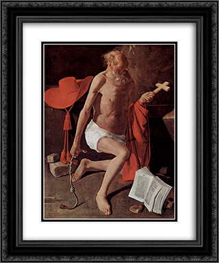 Repenting of St. Jerome, also called St. Jerome with Cardinal Hat 20x24 Black or Gold Ornate Framed and Double Matted Art Print by Georges de la Tour