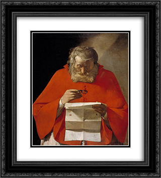 Saint Jerome reading a letter 20x22 Black or Gold Ornate Framed and Double Matted Art Print by Georges de la Tour