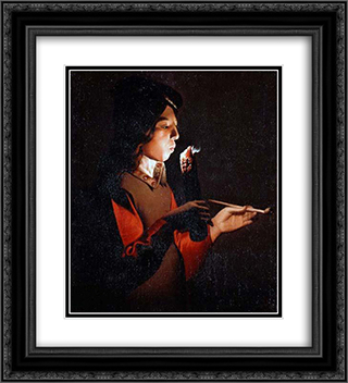 Smoker 20x22 Black or Gold Ornate Framed and Double Matted Art Print by Georges de la Tour