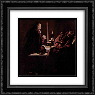 St. Francis in Extasy, also called The Praying Monk beside the Dying Monk 20x20 Black or Gold Ornate Framed and Double Matted Art Print by Georges de la Tour