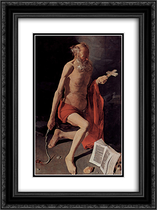 St. Jerome 18x24 Black or Gold Ornate Framed and Double Matted Art Print by Georges de la Tour
