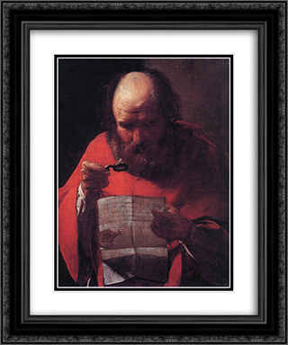 St. Jerome Reading 20x24 Black or Gold Ornate Framed and Double Matted Art Print by Georges de la Tour