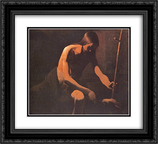 St. John the Baptist in the Desert 22x20 Black or Gold Ornate Framed and Double Matted Art Print by Georges de la Tour