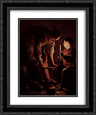 St. Joseph, the Carpenter 20x24 Black or Gold Ornate Framed and Double Matted Art Print by Georges de la Tour
