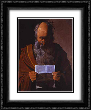 St. Paul 20x24 Black or Gold Ornate Framed and Double Matted Art Print by Georges de la Tour
