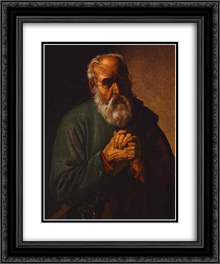 St. Peter 20x24 Black or Gold Ornate Framed and Double Matted Art Print by Georges de la Tour