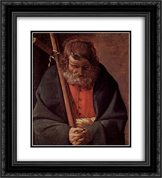 St. Philippe 20x22 Black or Gold Ornate Framed and Double Matted Art Print by Georges de la Tour