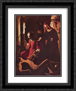St. Sebastian Tended by St. Irene 20x24 Black or Gold Ornate Framed and Double Matted Art Print by Georges de la Tour