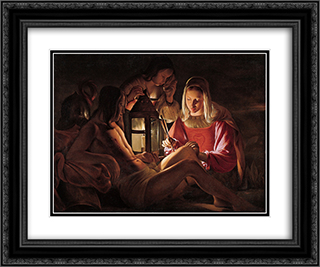 St. Sebastian with Lantern 24x20 Black or Gold Ornate Framed and Double Matted Art Print by Georges de la Tour