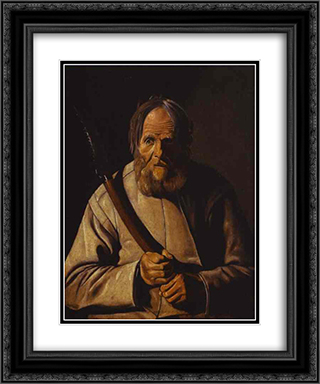 St. Simon 20x24 Black or Gold Ornate Framed and Double Matted Art Print by Georges de la Tour