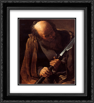 St. Thomas 20x22 Black or Gold Ornate Framed and Double Matted Art Print by Georges de la Tour