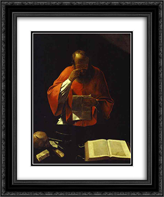 St.Jerome reading 20x24 Black or Gold Ornate Framed and Double Matted Art Print by Georges de la Tour
