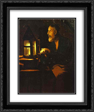 Tears of St. Peter 20x24 Black or Gold Ornate Framed and Double Matted Art Print by Georges de la Tour