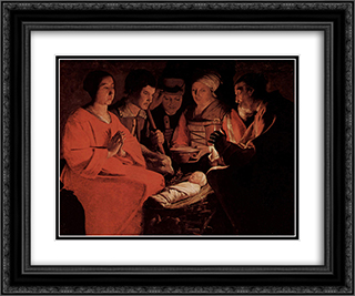The Adoration of the Shepherds 24x20 Black or Gold Ornate Framed and Double Matted Art Print by Georges de la Tour