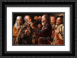 The Beggars' Brawl 24x18 Black or Gold Ornate Framed and Double Matted Art Print by Georges de la Tour