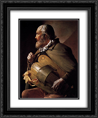 The Blind Hurdy Gurdy Player 20x24 Black or Gold Ornate Framed and Double Matted Art Print by Georges de la Tour