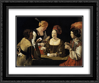 The Cheat with the Ace of Diamonds 24x20 Black or Gold Ornate Framed and Double Matted Art Print by Georges de la Tour