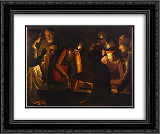 The Denial of St. Peter 24x20 Black or Gold Ornate Framed and Double Matted Art Print by Georges de la Tour