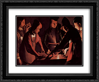 The Dice Players 24x20 Black or Gold Ornate Framed and Double Matted Art Print by Georges de la Tour